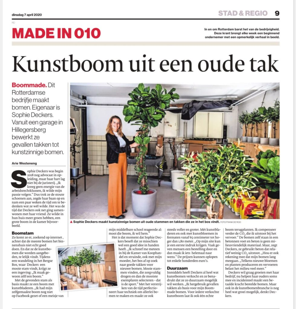 boommade krant made in 010 QD Rotterdam Boommade Kunstboom uit een oude tak